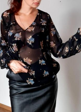 Блуза zara . прозрачная блуза в цветочный принт новая коллекция