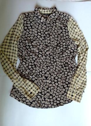Стильная рубашка, клетка, цветы, модная, как печворк,  тренд 2021, topshop, 46, 48