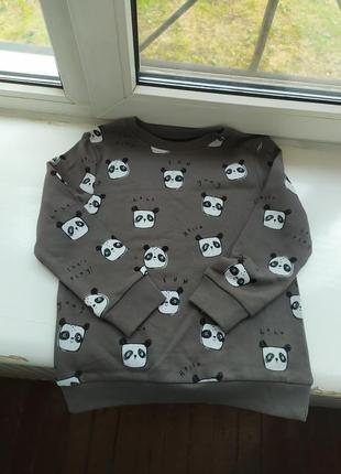 Детский теплый свитшот реглан кофта с начесом панда джордж george 5-6 лет 110,116 см