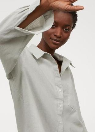 Оверсайз рубашка со льном h&m