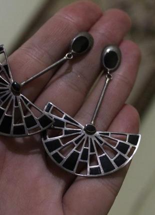 Серебро крупные серьги подвески с эмалью стиль ар деко