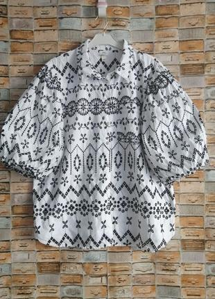 Блуза из прошвы с пышными рукавами
