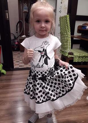 Нарядный , крамивенный комплект футболка и юбка