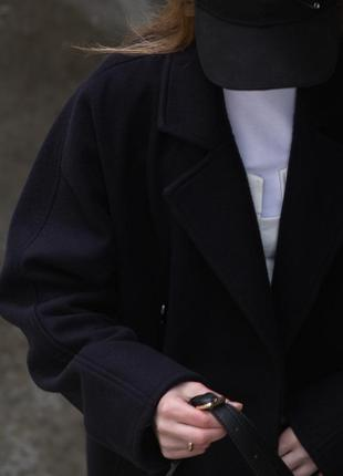 Шерстяное пальто тёмно-синее чёрное осень зима миди макси в стиле zara massimo dutti mango