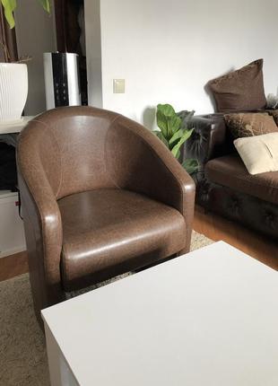 Кожаное коричневое кресло бренда d'linestyle/тико-1
