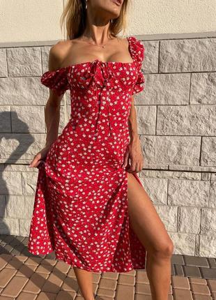 Платье миди с разрезом штапель