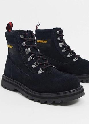 Чёрные кожаные хайкеры ботинки берцы caterpillar