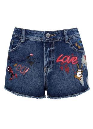 Шорты джинсовые короткие с вышивкой высокая посадка oodji 27р
