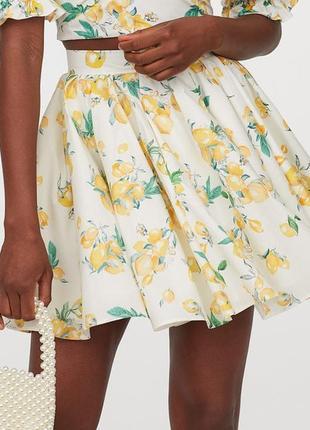Новая хлопковая юбка h&m в лимонах. размер 38