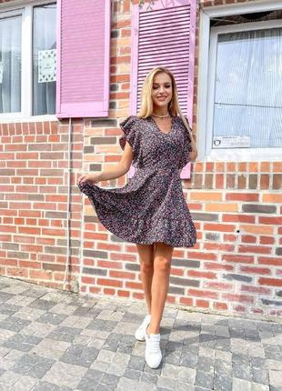 Стильное платье мини - 4 цвета, летнее платье, платье под пояс, летний сарафан (арт 100429)