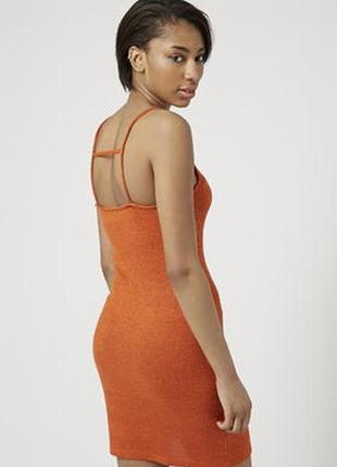 Крутое платье в рубчик topshop с переплетением по спинке