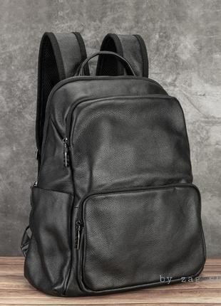 Мужской кожаный портфель рюкзак в дорогу под ноутбук сумка черная натуральна шкіра