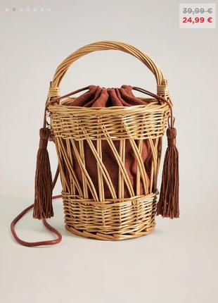 Сумка, сумка плетеная, сумка mango, летняя сумка