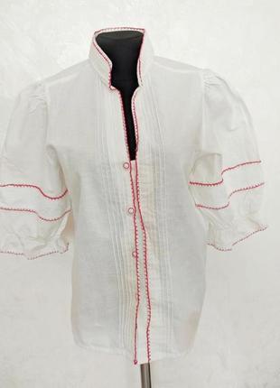 Винтажная льняная национальная рубашка с вышивкой