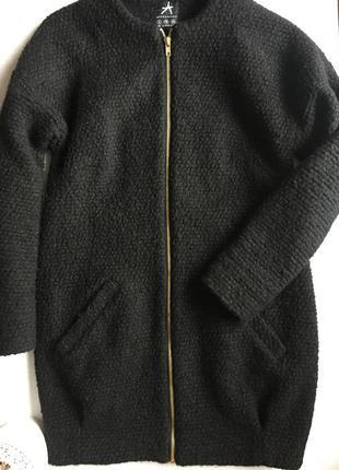 Чорне тепле пальто хс/с