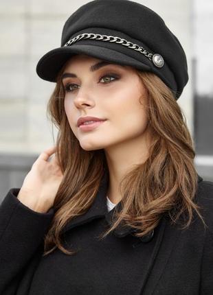 Стильная черная кашемировая кепи/ кепка / шапка с козырьком и цепью