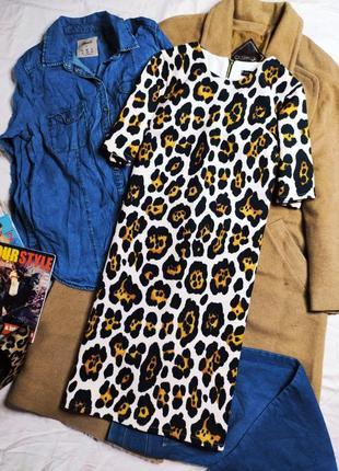 River island платье новое белое леопардовый принт бежевый черный прямое классическое