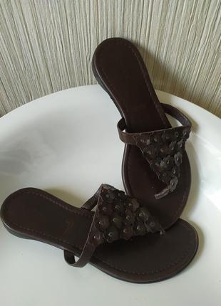 Вьетнамки кожаные коричневые,39