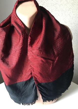 130*27 винтажный мужской шарф шёлк/шерсть