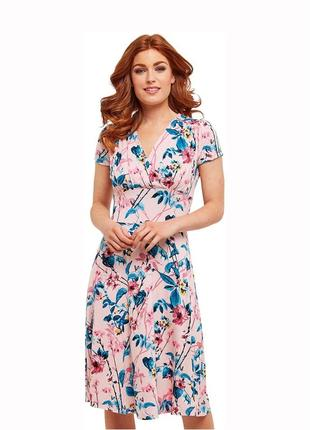 Летнее розовое миди платье с цветочным принтом, размер s