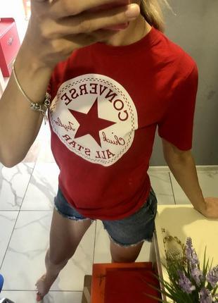 Трендовая футболка converse оригинал красная
