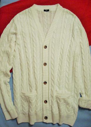 Вязаный удлиненный кардиган, кофта на пуговицах от cotton