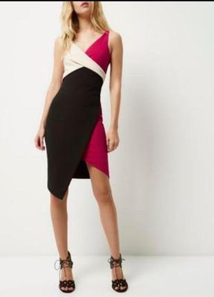 River island платье по фигуре карандаш футляр ассиметрия фуксия розовое чёрное бежевое миди