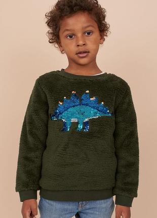 Теплый свитер флиска плюшевая кофта меховушка h&m паетки