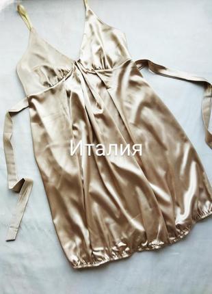 Италия. платье в бельевом стиле нюд.