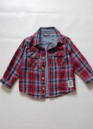 Lindex. клетчатая рубашка на подкладке. 92-98 размер.