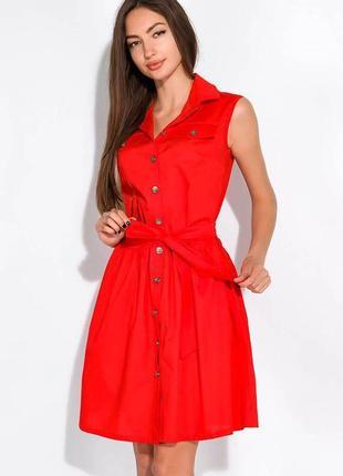 Платье-рубашка с поясом жилетка сарафан на заклепках пуговицах с пуговицами