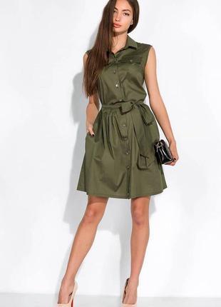 Платье-рубашка с поясом жилетка сарафан на заклепках пуговицах с пуговицами4 фото