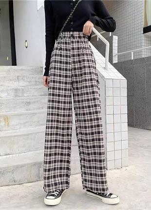 Черно-белые широкие клетчатые штаны/брюки прямого кроя/аниме/k pop