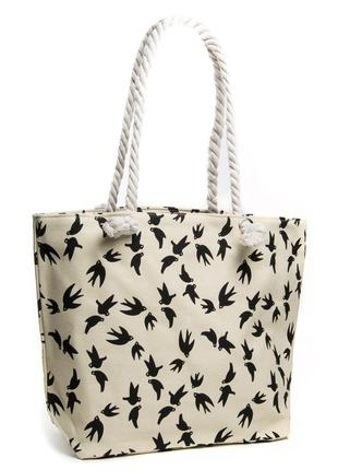 Летняя женская текстильная пляжная сумка на пляж шоппер бежевая