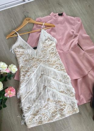 Шикарное платье с бахромой prettylittlething