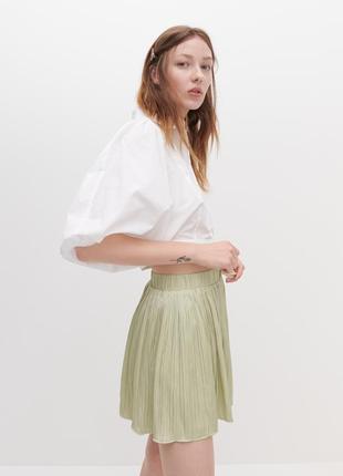 Новые плиссированные шорты юбка зеленые шорты короткие женские zara reserved
