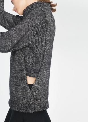 Меланжевый серый свитер с высоким горлом без рукавов, жилет zara