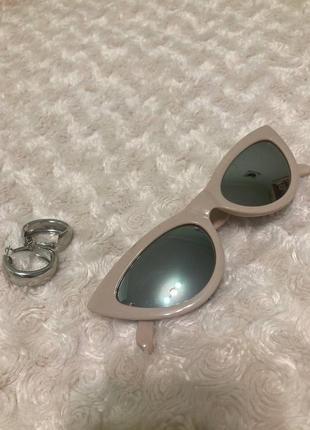 Бежевые ретро очки с зеркальной линзой