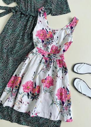 Лляна сукня в квітковий принт next