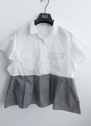 Модная блуза с накладными карманами