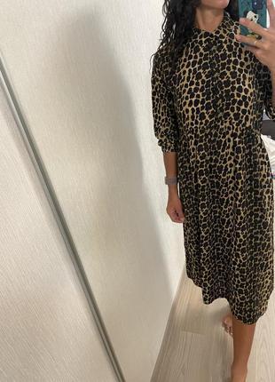 Леопардовое платье миди на пуговицах