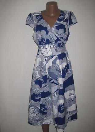 Хлопковое платье с запахом phase eight р-р16 крупные цветы,