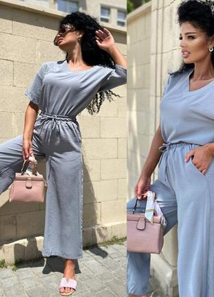 Брючный костюм свободного фасона серый,креп3 фото