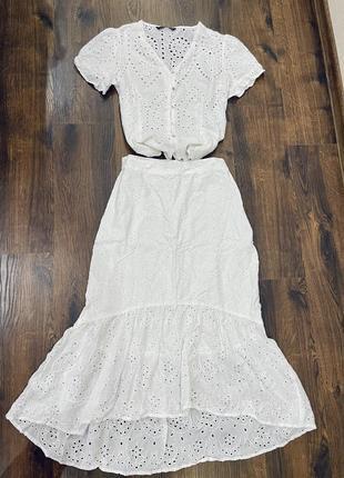Белый котоновый костюм прошва юбка миди блуза zara