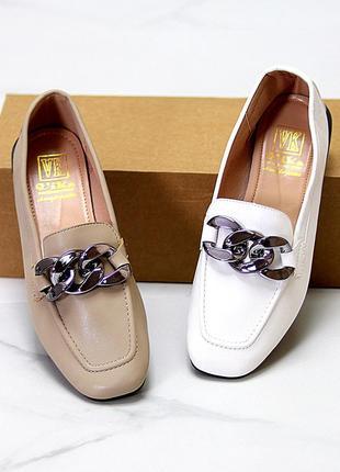 Туфли мокасины цепь квадратный носок