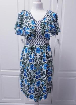 Tu сукня в квітковий принт віскоза з хвилястими рукавами