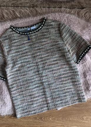 Твидовая блуза от zara (m)