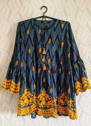 Khaadi розкішна натуральна блуза-туніка з вишивкою та помпонами