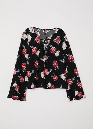 Натуральная блуза в цветочный принт