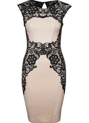Бежевое вечернее платье с черным кружевом